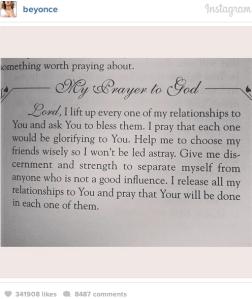 beyonce prayer ig