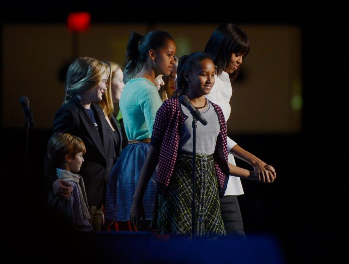 The First Lady Michelle Obama and her children along with Jill Biden and her family arrive