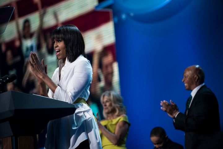 The First Lady Michelle Obama speaks during the children's concert