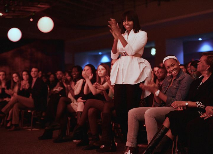 First Lady Michelle Obama gives Usher a standing ovation