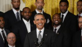 President Barack Obama welcomes 2013 NBA Champion Miami Heat to the White House to honor the team on