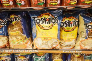 Snack chips on a supermarket shelf