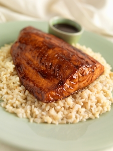 Salmon Fillet with Hoisin and Honey Glaze Over Rice