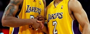 (Los Angeles, CA – Wednesday, May 27, 2009) Lakers teammates Derek Fisher, right, and Kobe Bryant s