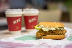 Fried chicken hamburger and freshly ground coffee supplied...
