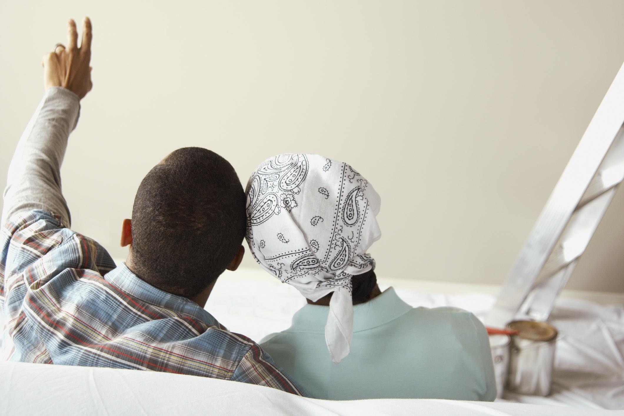 Couple visualizing home renovations