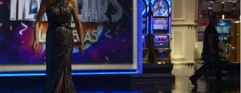 Vanna White, who has been turning letters on the Wheel of Fortune for 30 years, in action in Las Vegas, NV.