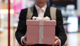 Man holding gift box
