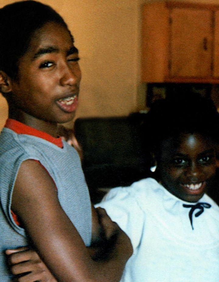 Tupac with his sister Sekywa